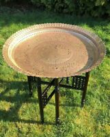 Vintage Dark Wood Fold Up Table With Large Brass Top and Ornate Legs