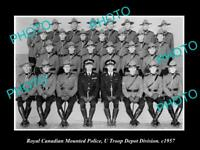 OLD LARGE HISTORIC PHOTO OF ROYAL CANADIAN MOUNTED POLICE, DEPOT DIVISION c1957