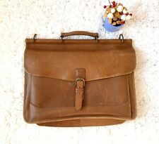LL BEAN Leather Briefcase Saddle Messenger Bag *Missing Shoulder Strap