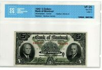 RARE! 1942 $5 BANK OF MONTREAL BANKNOTE - CERTIFIED CCCS VF-25