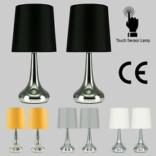Pair of Bedside Table Lamp Touch Dimmer Lounge Light Teardrop Modern Home Lamps