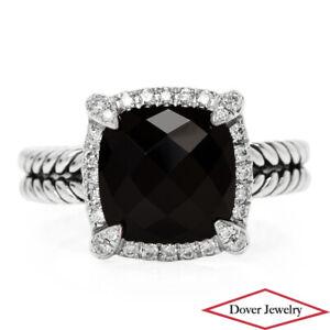 DAVID YURMAN Diamond Black Onyx Sterling Silver Chatelaine Ring 5.2 Grams NR