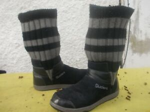 SKECHERS BLACK SUEDE & BLACK/GREY STRIPED STRETCH KNIT PULL ON BOOTS-SZ 37/6.57