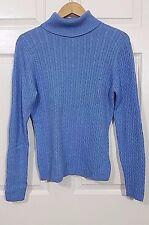 L.L. BEAN Turtleneck Sweater Women Cashmere Blend Light Blue Medium