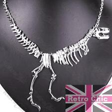 WALKING T REX NECKLACE tyrannosaurus STATEMENT skeleton BONES dinosaur SILVER PL