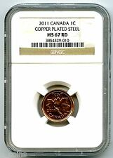 2011 CANADA CENT NGC MS67 RD COPPER PLATED MAGNETIC STEEL HIGH GRADE RARE !!