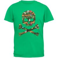 Skull And Crossbones Christmas Tree Cut Out Green Adult T-Shirt