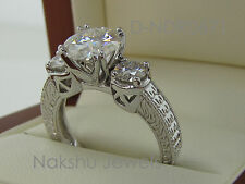 3Ct Round Cut Moissanite Diamond 3 Stone Engagement Ring 925 Sterling Silver