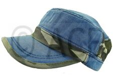 Womens 100% Cotton Military Hats Cadet Baseball Cap Camo Print Denim Hat