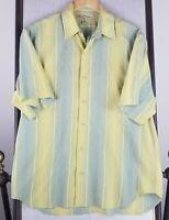 TOMMY BAHAMA MEDIUM Mens Button Front Down Short Sleeve Shirt Green/Yellow EUC