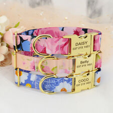 Floral Personalised Dog Collar Nylon Pet Collars Name ID Metal Buckle Engraved