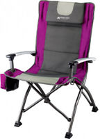 Folding High Back Chair w/ Head Rest Cup Holder Camping Chair Party BBQ Outdoor