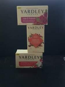 YARDLEY SOAP BARS ROSE & RHUBARB,PUMPKIN CREAM & STRAWBERRY COCONUT PK 3