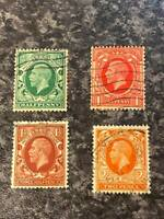 GB GV POSTAGE & REVENUE STAMPS SG439A-442A S/W W/M FINE USED