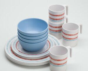 16-teiliges Melamingeschirr für 4 Personen Just Stripes
