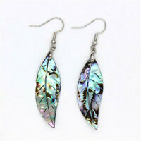 Natural Abalone Shell Silver Dangle Tree Leaf Women Earrings Accessories Gift
