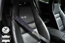 4X PURPLE DIAMOND STITCH BLACK LEATHER LUXURY SHOULDER SEAT BELT PADDED PADS