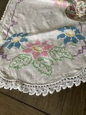 Vintage Handmade Pastel Floral Cross Stitch Runner Crocheted Lace