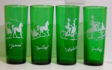 "VINTAGE SET OF 4 ANCHOR HOCKING GLASS  FOREST GREEN TALL BOY GLASSES 6 1/2"" TALL"