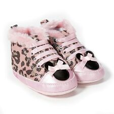 Disney Minnie Mouse Sneakers Pink Leopard Print Hi Top Shoes 3 to 6 Months NWT