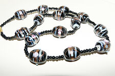 Collier vintage perles Murano et onyx/ vintage Murano necklace and black onyx