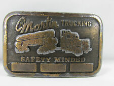 Vintage MARTIN TRUCKING Belt Buckle Logging Lumberjack Collectible Hit Line USA