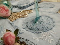 ONE Set 2PC~Lace Doily+Goblet Cover Vtg Crochet HAND Embroidered Rose BLUE-RARE