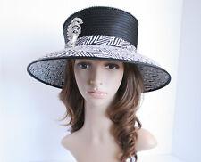 NEW Church Derby Wedding Medium Satin & Rhinestone Pin Hat Black/White