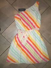 1102 Tommy Hilfiger Surf Shack Colorful Stripe One Shoulder SILK Dress 6