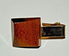 Vintage Handmade Custom 1960s Mid Century Modern Mod Wooden Tie Bar Clasp Rare