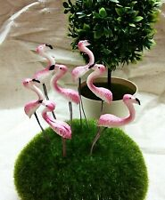 20 Pcs. Flamingo Pink Miniature Dollhouse Lawn Fairy Terrarium Garden Ornaments