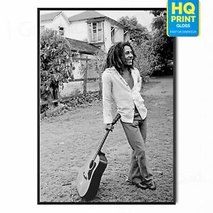Bob Marley black and white Vintage Classic Photography Rasta Poster   A5 A4 A3  