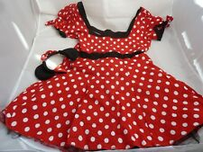 Women Disney Minnie Mouse Red Polka Dot Fancy Dress Costume Outfit size 10-12 uk