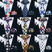 Classic Men/'s Tie Set Polka Dots Blue Black Red Pink Silk JACQUARD WOVEN Necktie