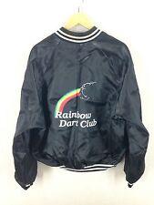 "Vintage Nylon Bomber Jacket ""Rainbow Dart Club"" Size 2XL Made in USA"