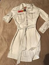 Tory Burch new  off white  ivory  Edelia linen cotton shirt dress  size L 12