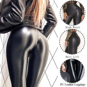 Women Faux PU Leather Skinny Pants High Waist Push-Up Butt Lift Stretch Leggings