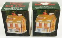 Dickens Village Bell Lites Handcrafted Ceramic Cottage Ornaments Lot Of 2