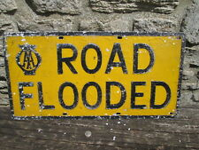 AA Sign road flooded. vintage sign. RAC sign.