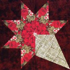New listing Red Roses Brides Bouquet Kaleidoscope 12 Block Quilt Kit 100% Cotton Shop Fabric
