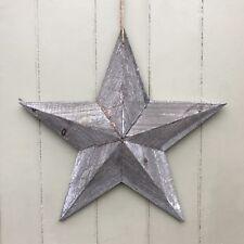 Grand Shabby Chic Bleu Vieilli en bois suspendus Star Wall Art