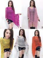 Lady Poncho Stole Scarf Cape Shrug Wrap Shawl Jumper Sweater Cardigan Crochet NR