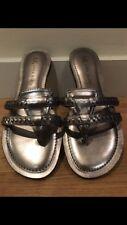 New Anne Klein 2- Strap Sandals In Gunmetal Size 6.5M