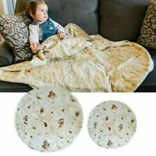 60'' Round Taco Burrito Blanket Tortilla Soft Flannel Wrap Picnic Blanket Throw