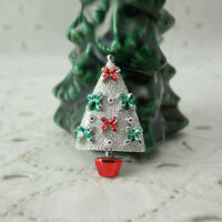 Cute Vintage Miniature Red Green Enamel Bow Textured Christmas Tree Pin Brooch