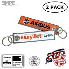 *New* 2x easyJet crew tag keychain ring airbus pilot embroidered - high quality