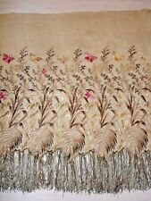 EXCEPTIONAL FRENCH ANTIQUE HAND EMBROIDERED SILK EMBROIDERY BUTTERFLY MID 19th