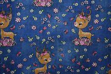 Alpenfleece Rehe jeans blau Sweatshirt mit Fleece für Hoodie und Sweaties 25 cm
