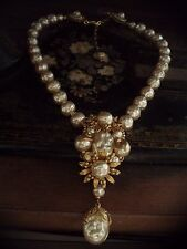 Vintage Gold Flower & Seed Bead Baroque Pearl Necklace Very Miriam Haskell Style