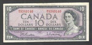 1954 MISCUT ERROR $10.00 BC-40b-E25 F-VF SCARCE Canada Elizabeth II Ten Dollars
